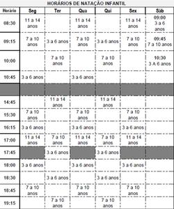 Academia Acqua Ville - Horários das aulas de natação infantil.